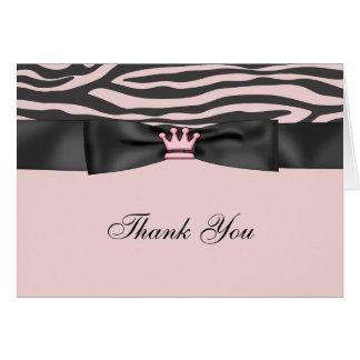 Pink Zebra Pink Black Princess Thank You Cards