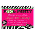 Pink Zebra Pool Party Birthday Invitation
