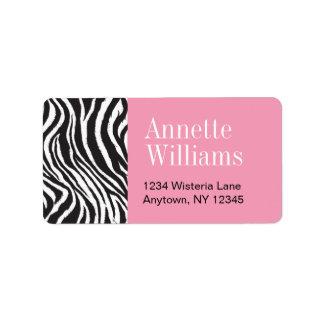 Pink & Zebra Print  Address Labels