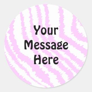 Pink Zebra Print, Animal Pattern. Round Sticker