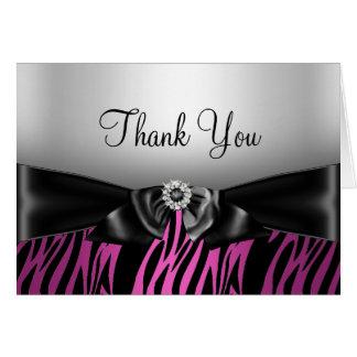 Pink Zebra Print & Bow Thank You Card