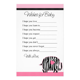 Pink Zebra Print Elephant Wishes for Baby Shower Stationery