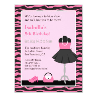 Pink Zebra Print Fashion Show Girls Birthday Party Card