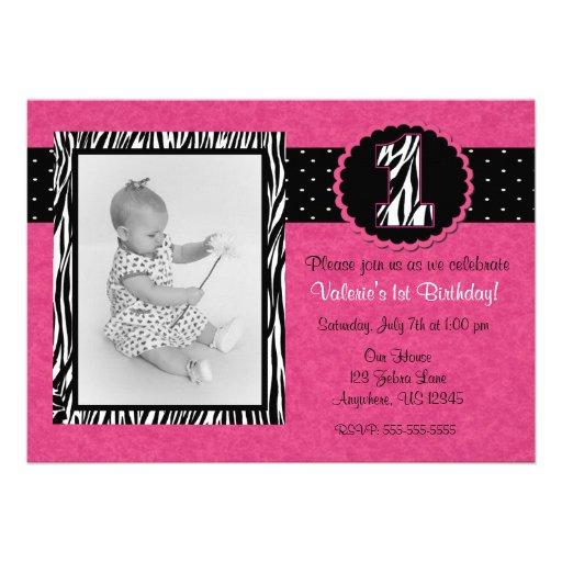 Pink Zebra Print Girls 1st Birthday Invitation