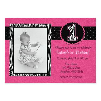 "Pink Zebra Print Girls 1st Birthday Invitation 5"" X 7"" Invitation Card"