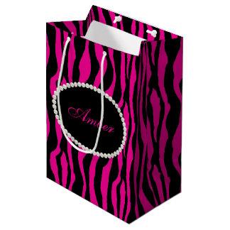 Pink Zebra Print Pearls & Name Monogram Medium Gift Bag