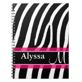 Pink Zebra Print Personalized Notebook