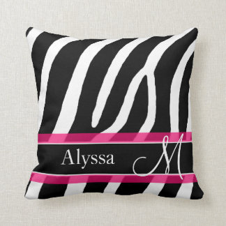 Pink Zebra Print Personalized Throw Pillow