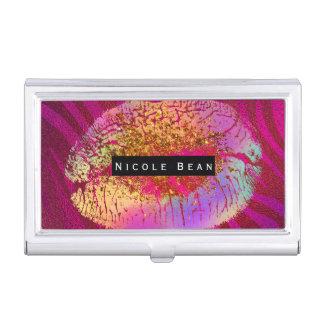 Pink Zebra Print Rainbow Gold Glitter Lips Business Card Holder