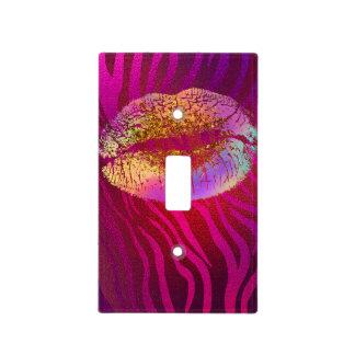 Pink Zebra Print Rainbow Gold Glitter Lips Kiss Light Switch Cover