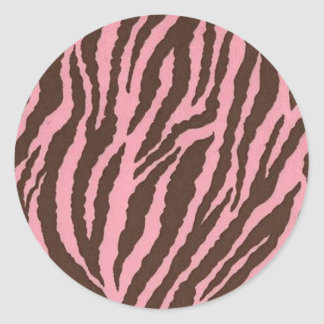 Pink Zebra Print Round Sticker