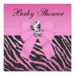 Pink Zebra Printed Bow & Glitter Look Baby Shower