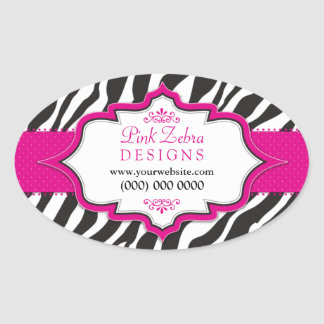 Pink Zebra Ribbon Promotional Stickers