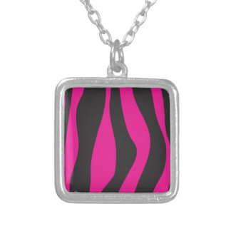 Pink zebra silver plated necklace