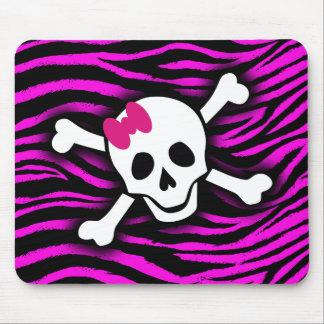 Pink Zebra Skull Mouse Pad