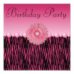 "Pink Zebra Stripes Flower & Pearls Birthday Party 5.25"" Square Invitation Card"