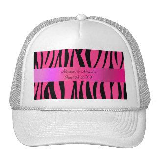 Pink zebra stripes wedding favors hats