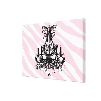 Pink Zebra Stripes With Black Chandelier Canvas Print