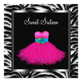 Pink Zebra Sweet Sixteen Birthday Party Card