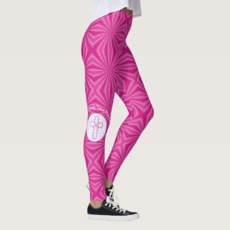 Pink Zig-zag Cross on Hot Pink and White Leggings