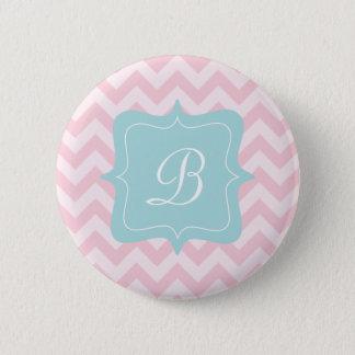 Pink Zigzag Monogram 2 Inch Round Button