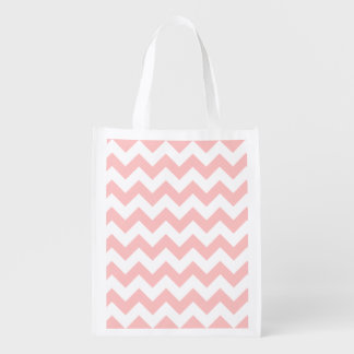 Pink Zigzag Stripes Chevron Pattern Girly Reusable Grocery Bags