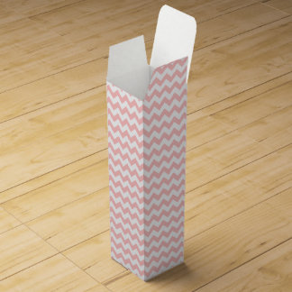 Pink Zigzag Stripes Chevron Pattern Girly Wine Bottle Boxes