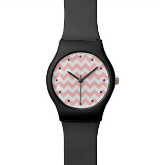 Pink Zigzag Stripes Chevron Pattern Girly Wristwatch