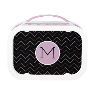 Pink ZigZags on a Black Background Lunchboxes