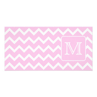 Pink Zigzags with Custom Monogram. Photo Card Template