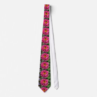 Pink Zinnia and Bumble bee Tie