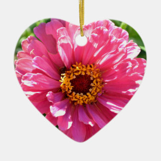 Pink Zinnia Ceramic Heart Ornament