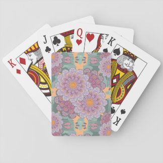 Pink Zinnia Mandala Pattern Playing Cards
