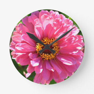 Pink Zinnia Round Clock