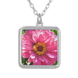Pink Zinnia Silver Plated Necklace