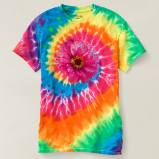Pink  Zinnia - tie-dyed T-shirt