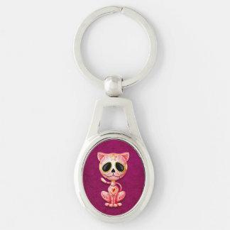 Pink Zombie Sugar Kitten Cat Keychain