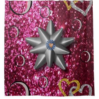 pinkish circular stars shower curtain
