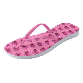 Pinkish Eye Flower Flip Flops