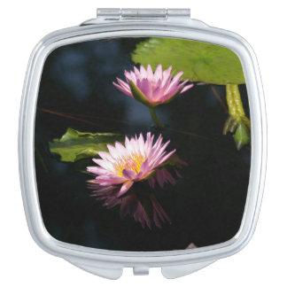 Pinkish Purple Lotus Waterlilies Compact Mirror