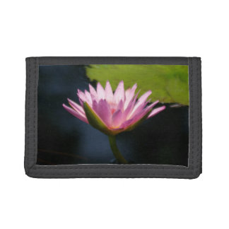 Pinkish Purple Lotus Waterlilies Tri-fold Wallet