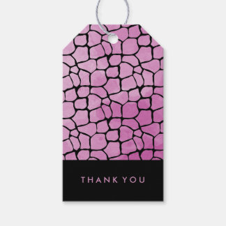 Pinkish Purple Watercolor Giraffe Print on Black Pack Of Gift Tags