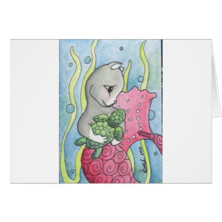 PinkMercat and turtle Card