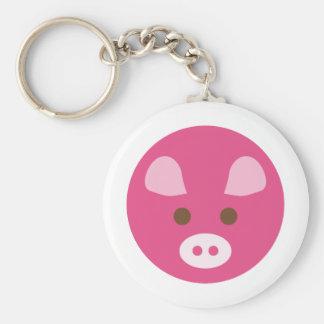PinkPig1 Basic Round Button Keychain