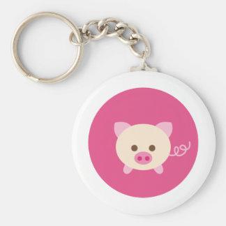 PinkPig2 Basic Round Button Keychain