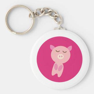 PinkPig3 Basic Round Button Keychain