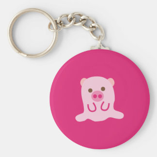 PinkPig4 Basic Round Button Keychain