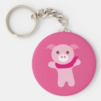 PinkPig5 Basic Round Button Keychain