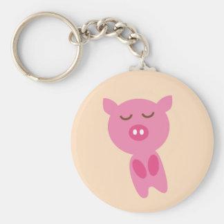 PinkPig7 Basic Round Button Keychain