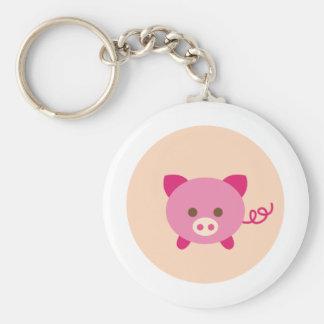 PinkPig8 Basic Round Button Keychain